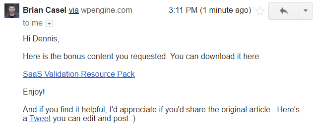 content upgrade email